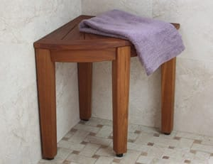 corneer collection 155u201d teak shower bench