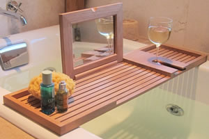 Teak bathtub tray