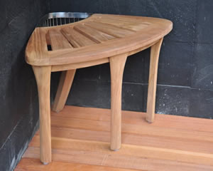 Teak corner shower bench for easier showers - TeakZine