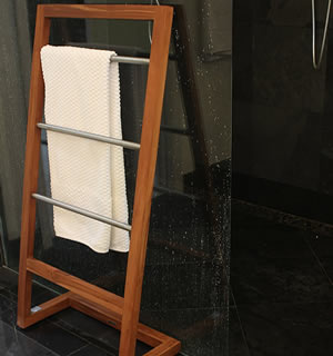 Tall teak towel rack