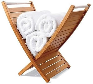 Teak towel holder